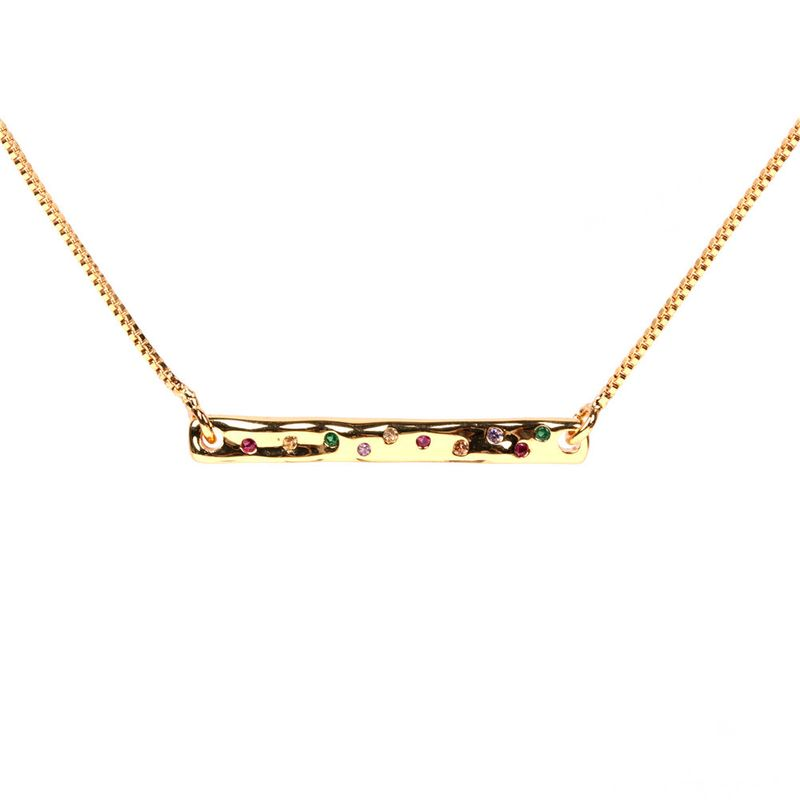 new fashion simple style  microset zircon design lock simple word pendant stainless steel necklace  nihaojewelry wholesale NHPY227178