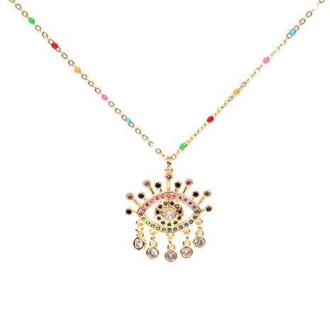 fashion simple colorful  Devil's Eye Necklace Personalized Tassel Eye Diamond  stainless steel Necklace nihaojewelry wholesale NHPY227182's discount tags