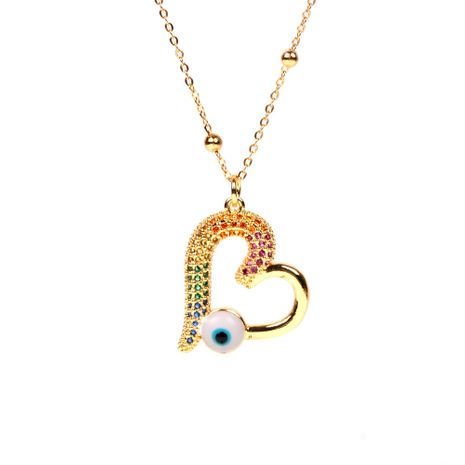 new fashion simple  jewelry personality hollow love blue drip eyes pendant  stainless steel necklace nihaojewelry  wholesale NHPY227185's discount tags