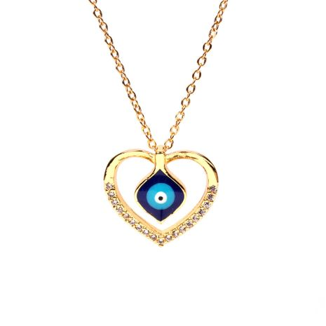 new fashion jewelry personality hollow love blue eyes pendant  stainless steel necklace nihaojewelry wholesale NHPY227186's discount tags