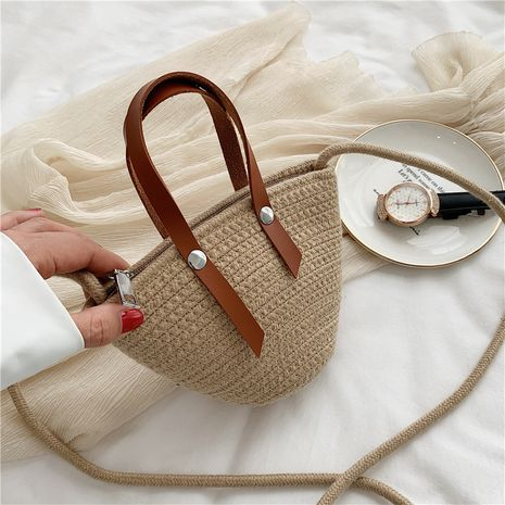 Woven bucket bag  new fashion  summer  straw bag portable messenger female bag foreign casual shoulder bag wholesale NHGA227227's discount tags