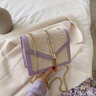 nouvelle mode tissé petit sac carré coréen simple brodé chaîne sac à bandoulière messenger en gros NHGA227228's discount tags