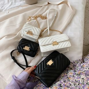 parfum de mode vent diamant solide couleur chaîne sac à bandoulière nouvelle serrure coréenne oblique cross-body petit sac carré en gros NHPB227350's discount tags
