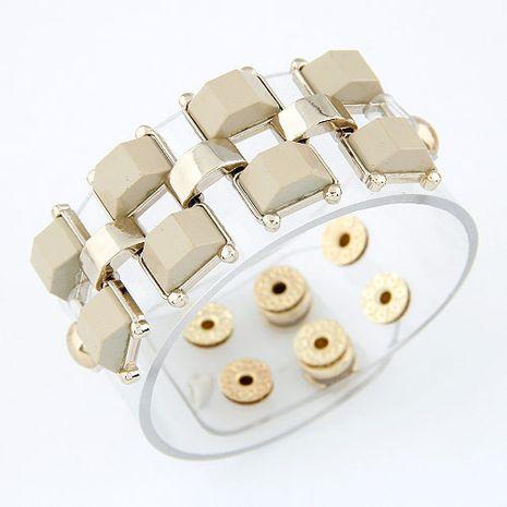 texture de la mode rivets en métal mode en caoutchouc transparent large bracelet en gros nihaojewelry NHSC227536's discount tags