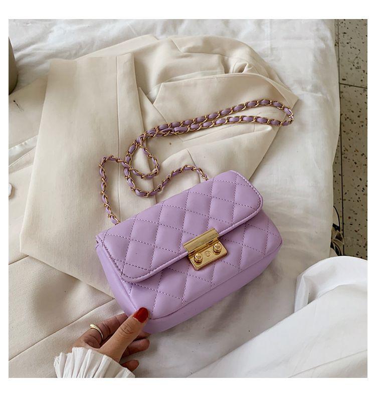 new korean simple  trendy wild diamond chain small square bag fashion shoulder messenger bag wholesale NHTC227530