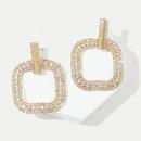 Korean fashion geometric rhinestone earrings trend square zircon earrings jewelry wholesale nihaojewelry NHLA227576