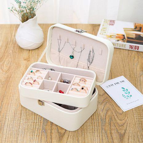 Boîte à bijoux coréenne à double couche boîte de rangement de bijoux collier coréen boîte à boucles d'oreilles boîte de rangement simple en gros nihaojewelry NHHO227582's discount tags