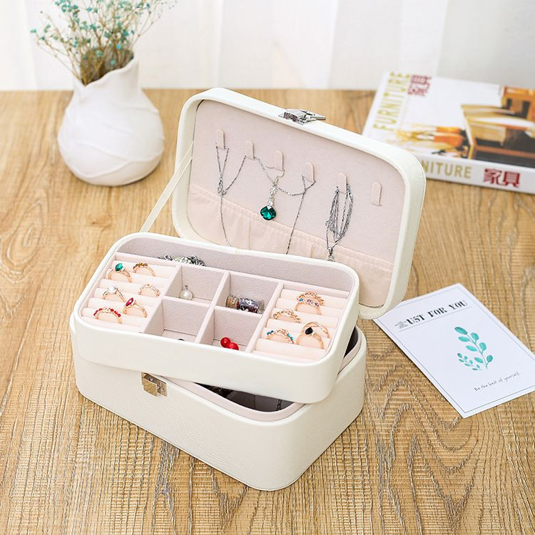 Korean double-layer jewelry box jewelry storage box Korean necklace earring box simple storage box wholesale nihaojewelry NHHO227582