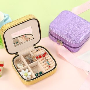 Double-layer jewelry storage box simple earrings hairpin necklace compartment storage box jewelry wholesale wholesale nihaojewelry NHHO227584's discount tags