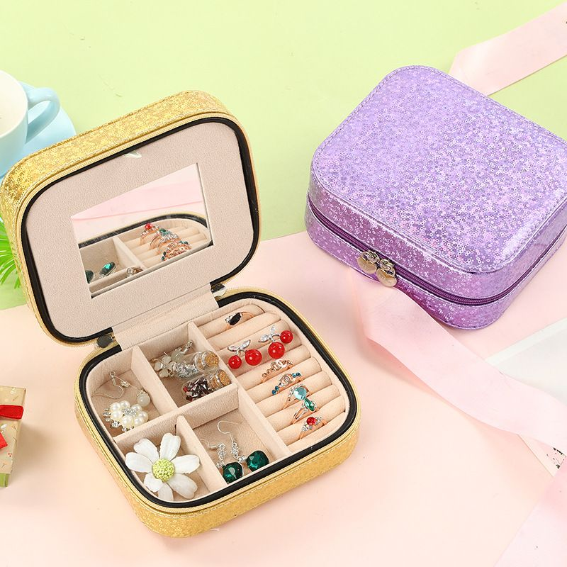 Double-layer jewelry storage box simple earrings hairpin necklace compartment storage box jewelry wholesale wholesale nihaojewelry NHHO227584