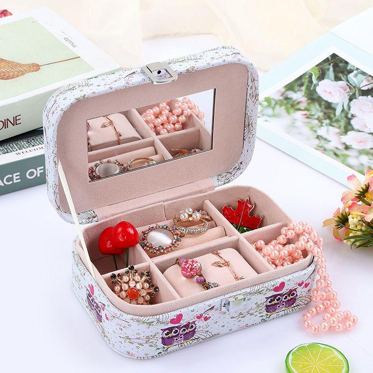 Cartoon printing jewelry storage box high-end jewelry box wedding makeup jewelry box wholesale nihaojewelry NHHO227585