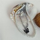 exaggerated butterfly retro pearl doublelayer necklace niche clavicle chain dark wholesale nihaojewelry NHYQ227593