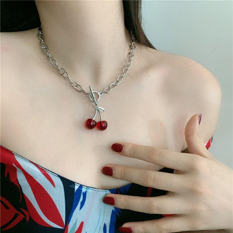Korean style retro cute sweet black cherry OT buckle clavicle chain Choker necklace wholesale nihaojewelry NHYQ227610