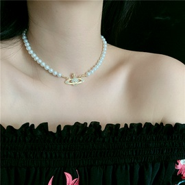 queen mother Baroque retro classic Saturn pearl diamond short necklace choker bracelet wholesale nihaojewelry NHYQ227616