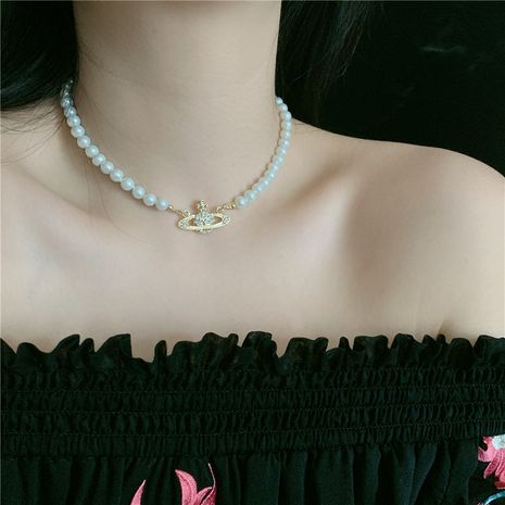 queen mother Baroque retro classic Saturn pearl diamond short necklace choker bracelet wholesale nihaojewelry NHYQ227616's discount tags