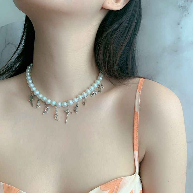 pearl baroque retro short choker necklace Sanskrit alphabet necklace wholesale nihaojewelry NHYQ227623