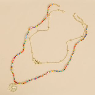 handmade two rice beads coins multi-layer necklace trend long woven pendant jewelry wholesale nihaojewelry NHLA227634's discount tags