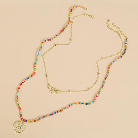 fait à la main deux perles de riz pièces multi-couche collier tendance longue tissé pendentif bijoux en gros nihaojewelry NHLA227634's discount tags