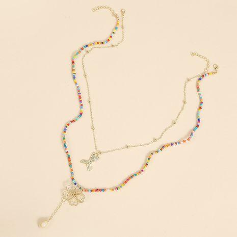 Bohème fait à la main multicouche deux perles de riz collier sirène fleur tissé pendentif bijoux en gros nihaojewelry NHLA227636's discount tags