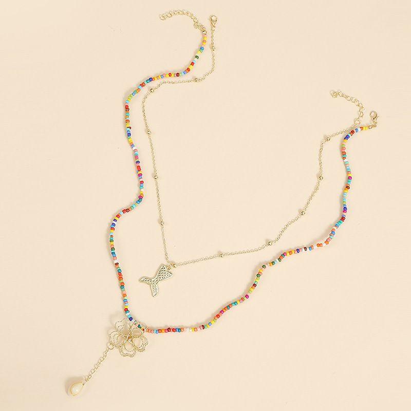 Bohemian handmade multi-layer two rice bead necklace mermaid flower woven pendant jewelry wholesale nihaojewelry NHLA227636