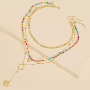 Bohemian multi-layer three-strand love bead necklace set beach handmade pendant jewelry wholesale nihaojewelry NHLA227637's discount tags