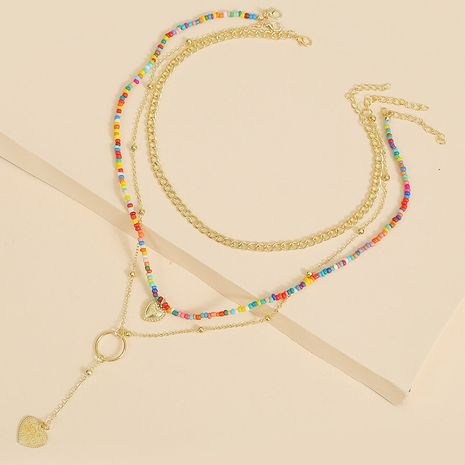 Bohemian multi-layer three-strand love bead necklace set beach handmade pendant jewelry wholesale nihaojewelry NHLA227637's discount tags