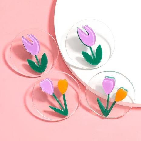 Corée ronde résine tulipe fleurs boucles d'oreilles coréennes mignon oreille bijoux en gros nihaojewelry NHJE227641's discount tags