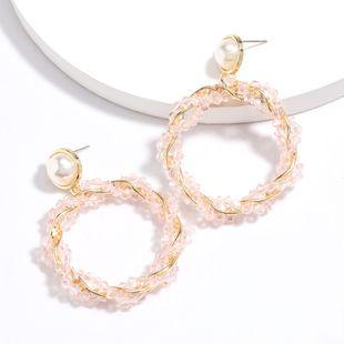 new round spiral alloy acrylic woven earrings retro earrings wholesale nihaojewelry NHJE227646's discount tags