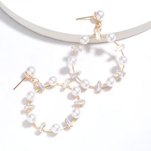 hot sale round alloy acrylic diamond inlaid pearl earrings tide earrings wholesale nihaojewelry NHJE227647's discount tags