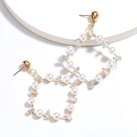 vente chaude carré alliage acrylique diamant incrusté de perles boucles d'oreilles en gros nihaojewelry NHJE227650's discount tags
