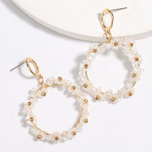 Fashionable simple and versatile multi-layer circular acrylic imitation pearl flowers earrings wholesale nihaojewelry NHJE227652's discount tags
