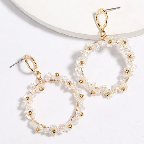 À la mode simple et polyvalent multicouche circulaire acrylique imitation perle fleurs boucles d'oreilles en gros nihaojewelry NHJE227652's discount tags