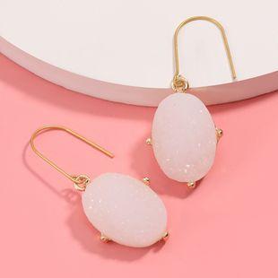 oval original stone ear hook ear hanging geometric earrings retro earrings wholesale nihaojewelry NHJE227653's discount tags