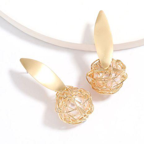 fil enroulé tissé enveloppé boucles d'oreilles boule de résine S925 argent aiguille boucles d'oreilles en gros nihaojewelry NHJE227655's discount tags