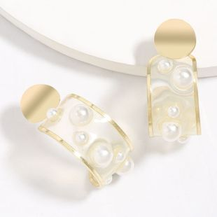 Fashion style C-shaped resin inlaid pearl alloy edging earrings tide geometric earrings wholesale nihaojewelry NHJE227656's discount tags