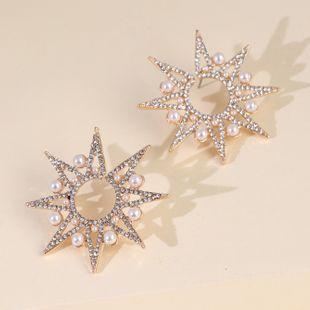 new rhinestone stars snowflake pearl earrings exaggerated large earrings wholesale nihaojewelry NHJJ227658's discount tags
