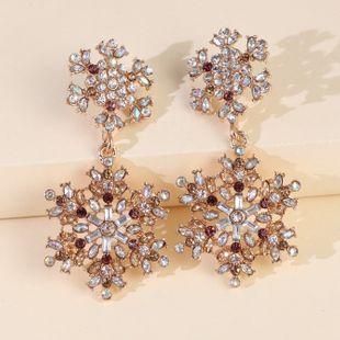 new rhinestone snowflake earrings exaggerated big earrings ladies earrings wholesale nihaojewelry NHJJ227659's discount tags