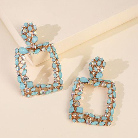géométrique vitrail diamant boucles d'oreilles creuses boucles d'oreilles longues avec accessoires en gros nihaojewelry NHJJ227661's discount tags