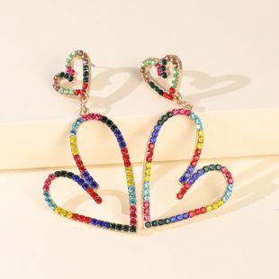 big earring jewelry alloy heart-shaped colorful diamond pierced earrings wholesale nihaojewelry NHJJ227662's discount tags