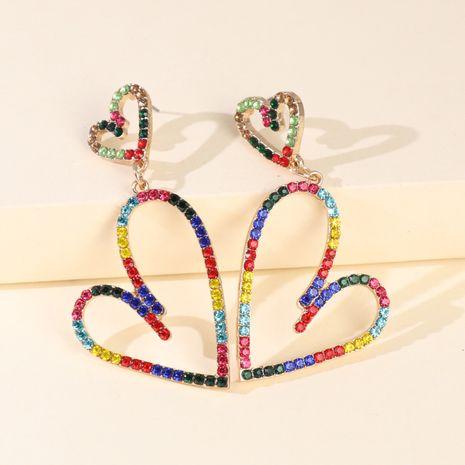grosse boucle d'oreille bijoux alliage en forme de coeur coloré diamant boucles d'oreilles percées en gros nihaojewelry NHJJ227662's discount tags