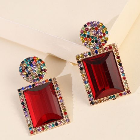 alliage diamant serti boucles d'oreilles symétriques de luxe pierres précieuses géométriques élégantes boucles d'oreilles dames en gros nihaojewelry NHJJ227664's discount tags