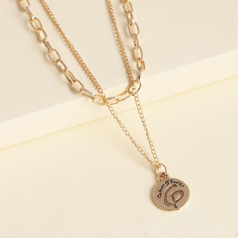 jewelry street style fashion simple English round card multi-layer suit necklace wholesale nihaojewelry NHJJ227680