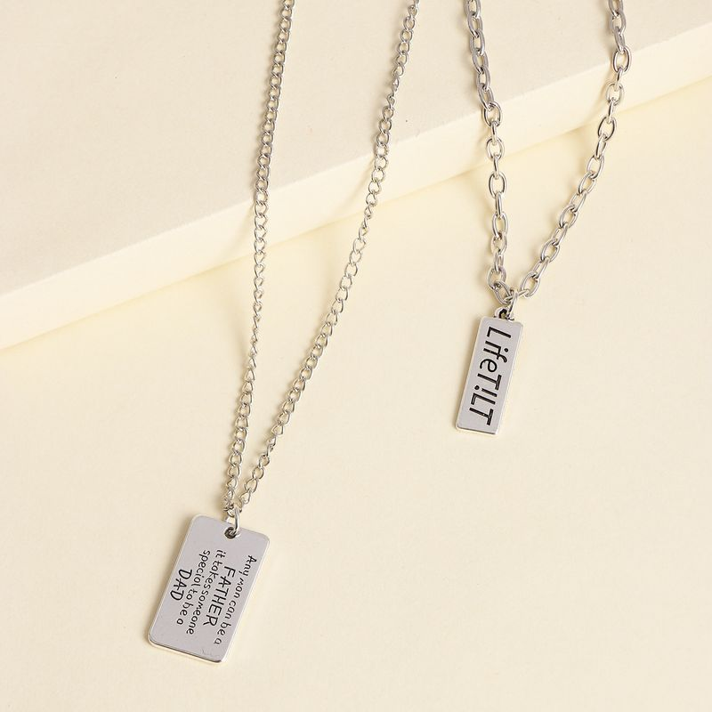 retro new alloy square brand English multilayer twopiece necklace item hot wholesale nihaojewelry NHJJ227683