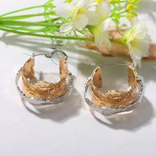double-layer metal texture earrings micro-creative fashion punk irregular alloy earrings wholesale nihaojewelry NHJQ227686's discount tags