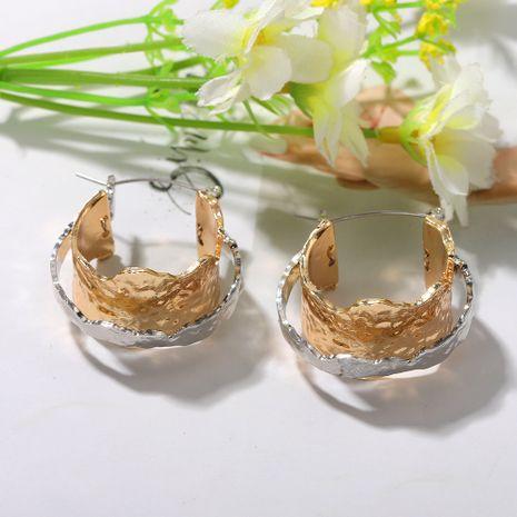 boucles d'oreilles à double couche en métal texture micro-créative mode punk boucles d'oreilles en alliage irrégulier en gros nihaojewelry NHJQ227686's discount tags