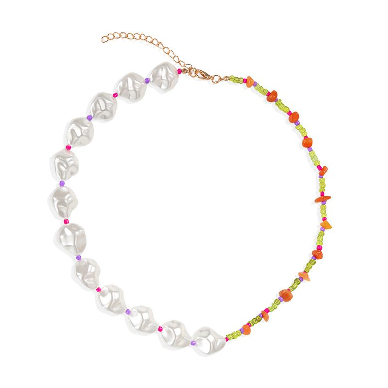 rice bead shaped pearl necklace multicolor beaded asymmetric fashion clavicle chain necklace jewelry wholesale nihaojewelry NHJQ227691
