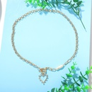 Korea Shaped Pearl Peach Heart Necklace Simple Heart Shaped Diamond Pendant Long Charm Trend Clavicle Chain wholesale nihaojewelry NHJQ227692