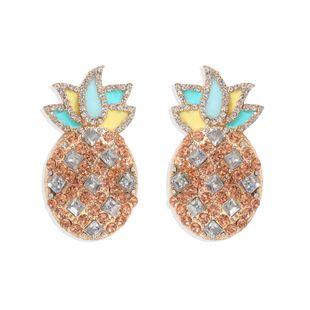 new sweet pineapple earrings diamond creative earrings fashion earrings wholesale nihaojewelry NHJQ227695's discount tags