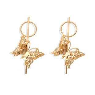 retro fashion hollow big butterfly earrings simple frosty wind circle earrings geometric insect earrings wholesale nihaojewelry NHJQ227697's discount tags