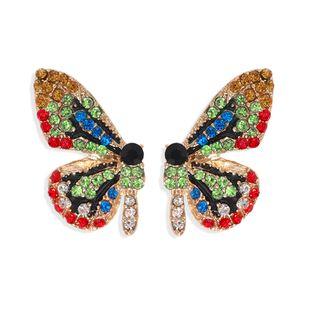fashion color diamond butterfly earrings super symmetrical insect color earrings full diamond wings ear hooks wholesale nihaojewelry NHJQ227698's discount tags